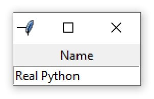 "A Tkinter window containing an Entry widget with the text ""Real Python"""