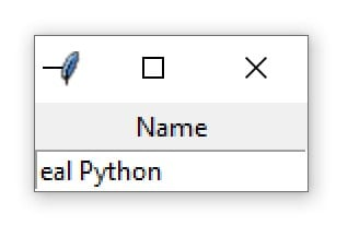 "A Tkinter window containing an Entry widget with the text ""eal Python"""