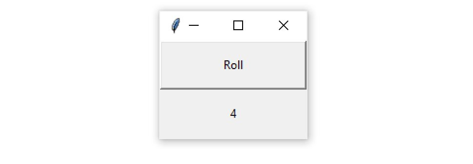 "A Tkinter application with a ""Roll"" button that produces a random number between 1 and 6"