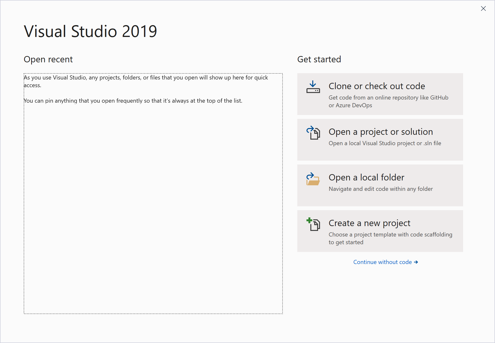 Choosing a Project Type in Visual Studio