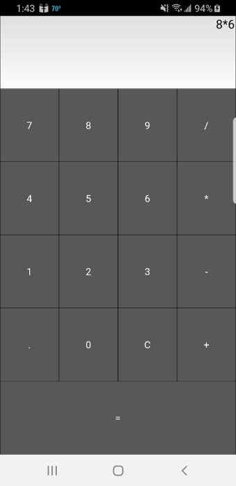 Kivy Calculator Running on Android Phone