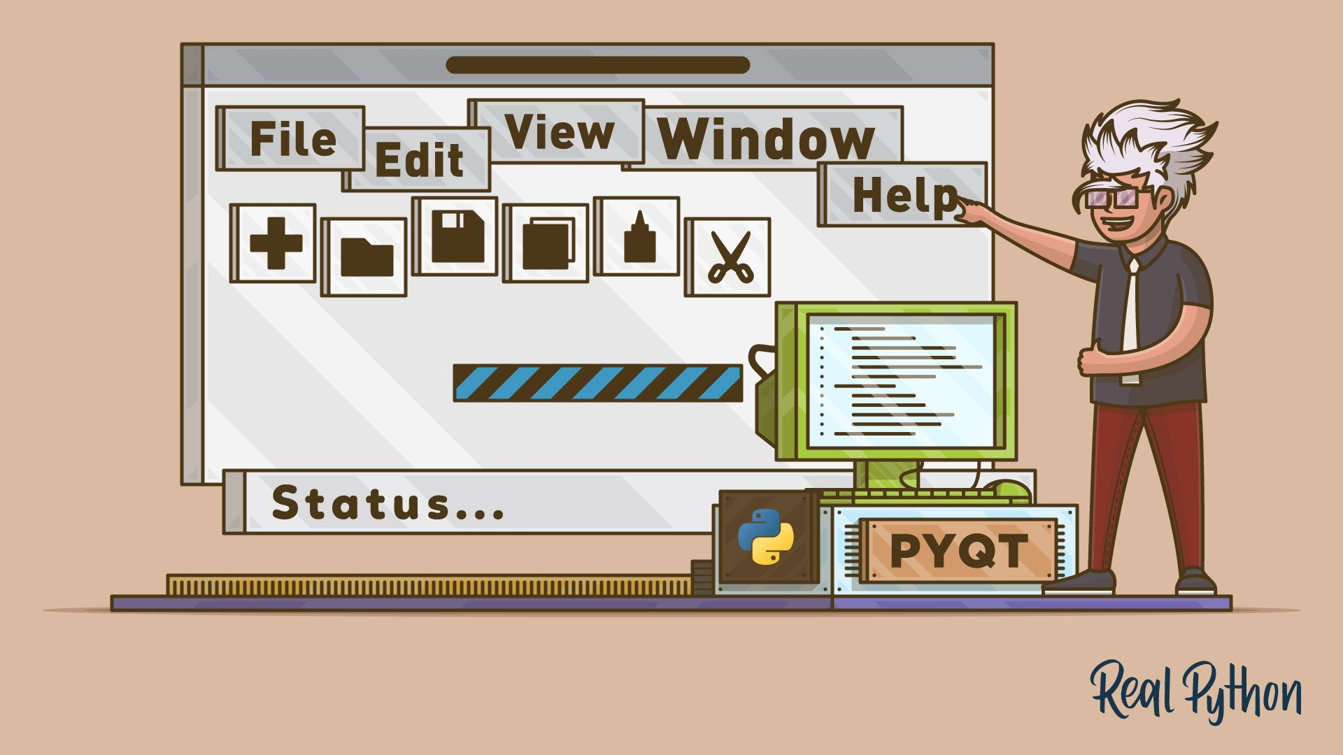 Python and PyQt: Creating Menus, Toolbars, and Status Bars