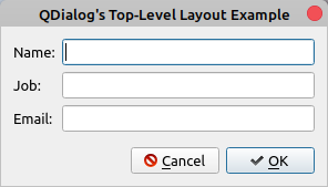 QDialog Top-Level Layout Example