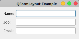 QFormLayout Example