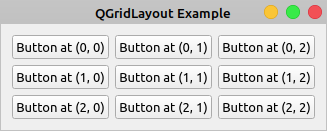 QGridLayout Example