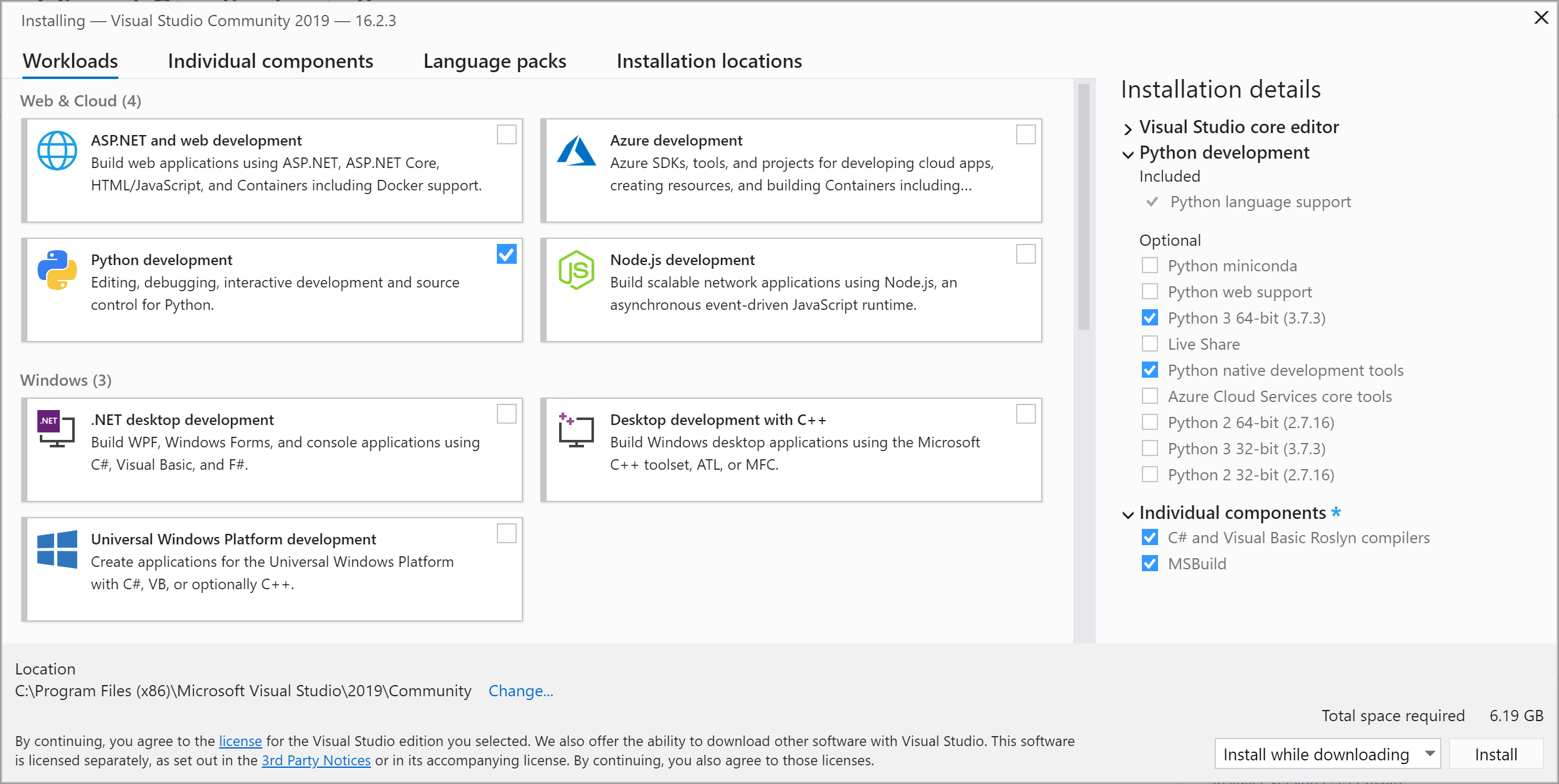Visual Studio Options Window