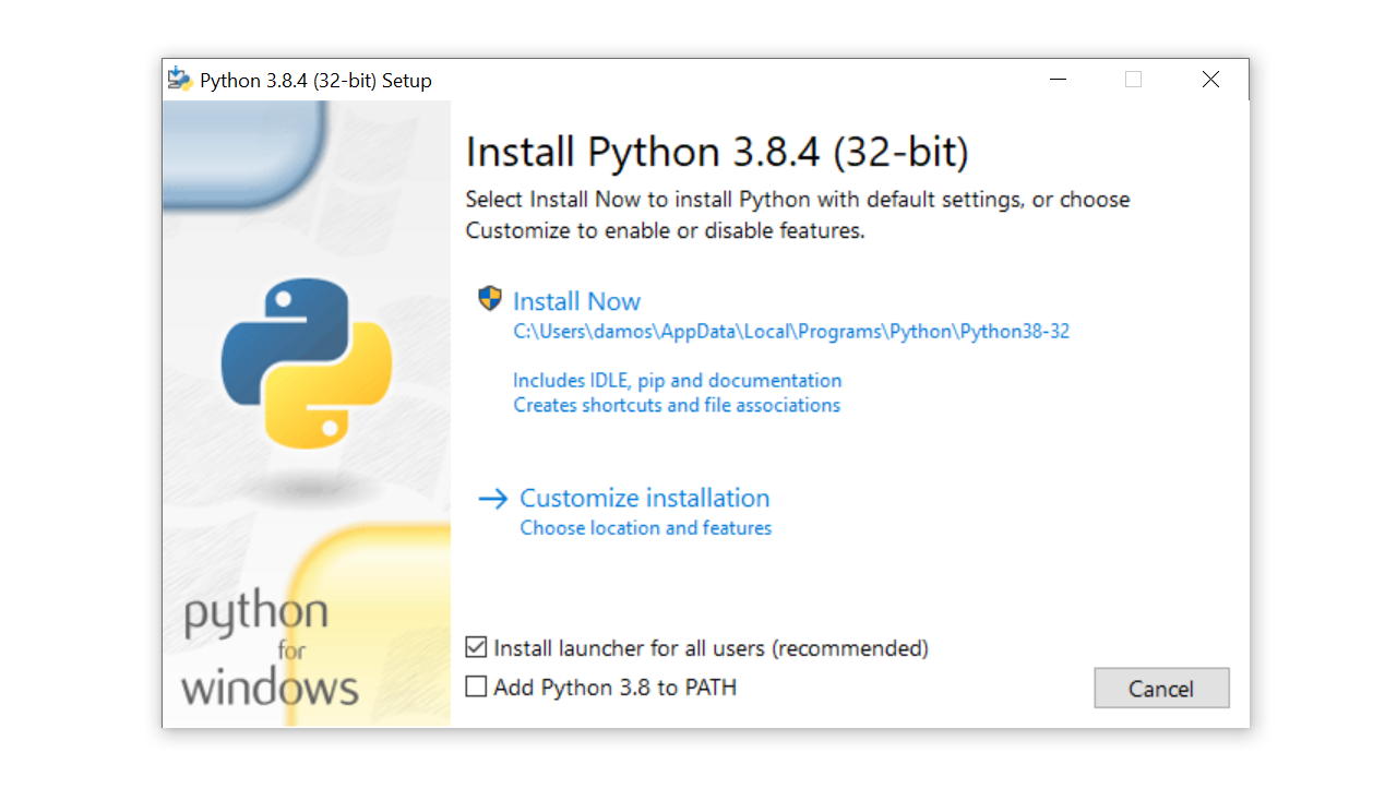 Windows installation dialog