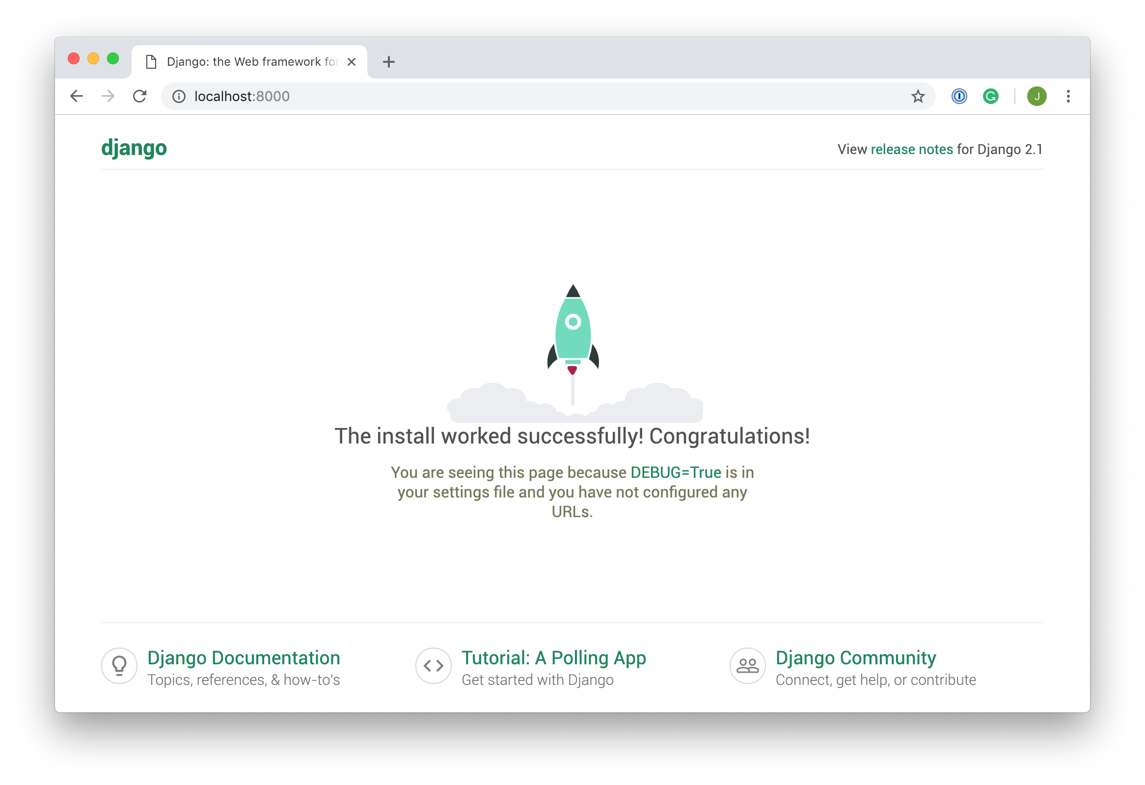 Initial view of Django site