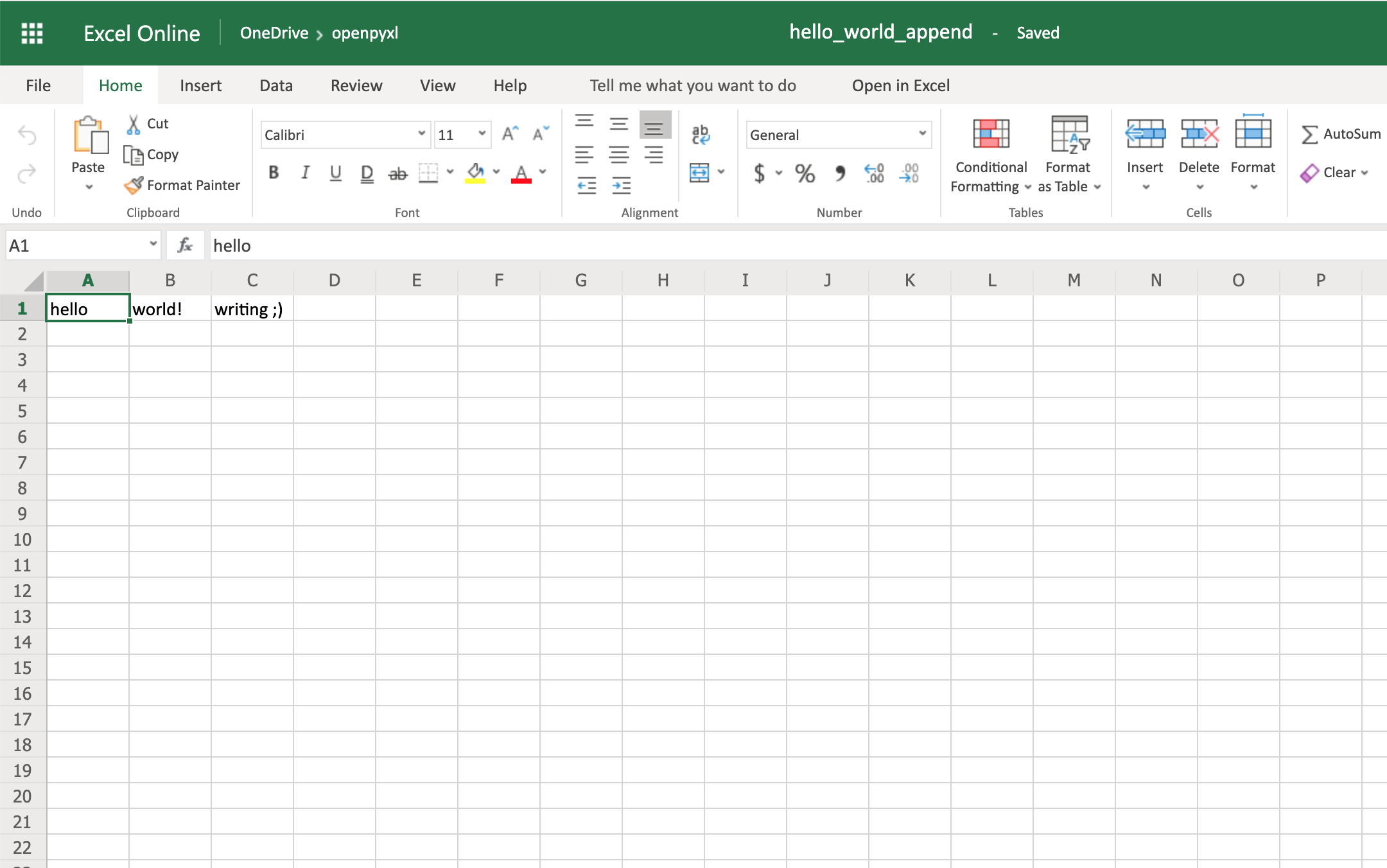 Appending Data to a Spreadsheet