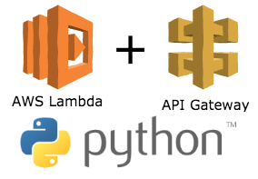 AWS Lambda,  API gateway and Python logos