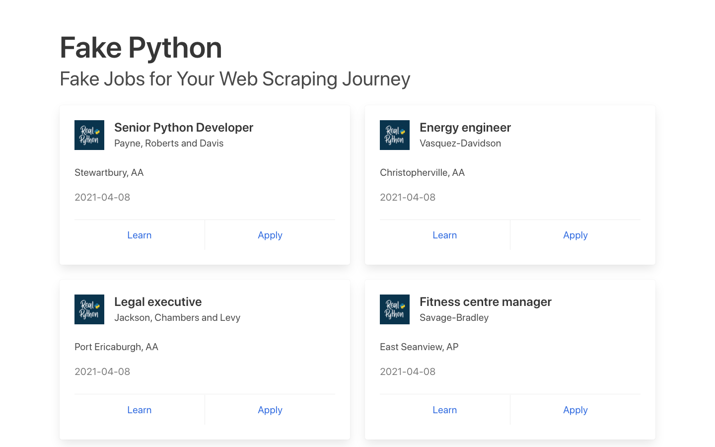 Index page of the Fake Python job board