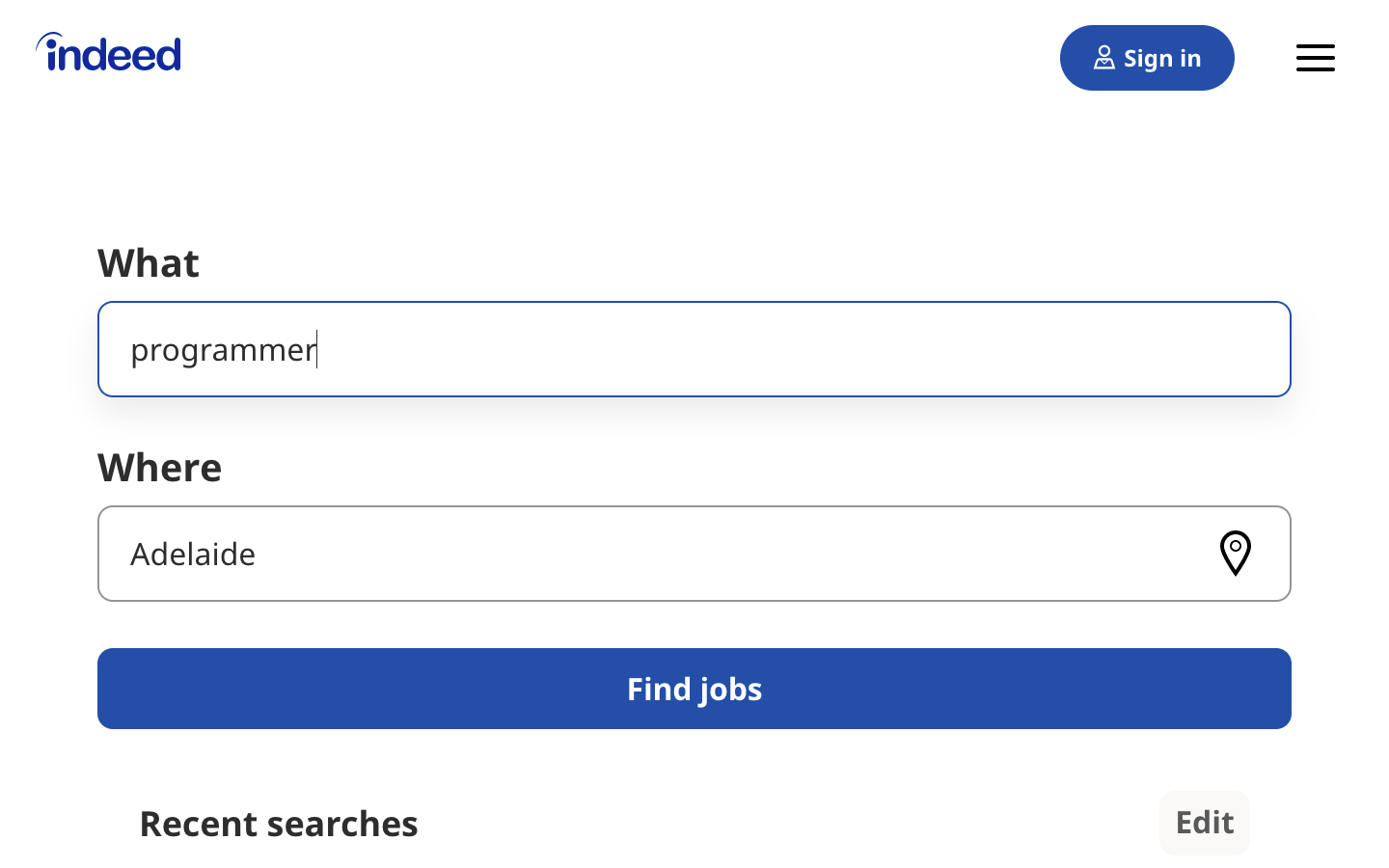 Search interface of the Indeed job board