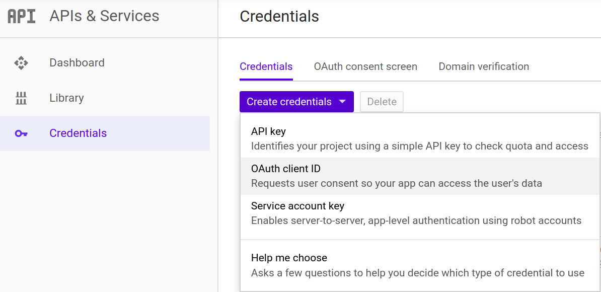 Google create credentials screen shot