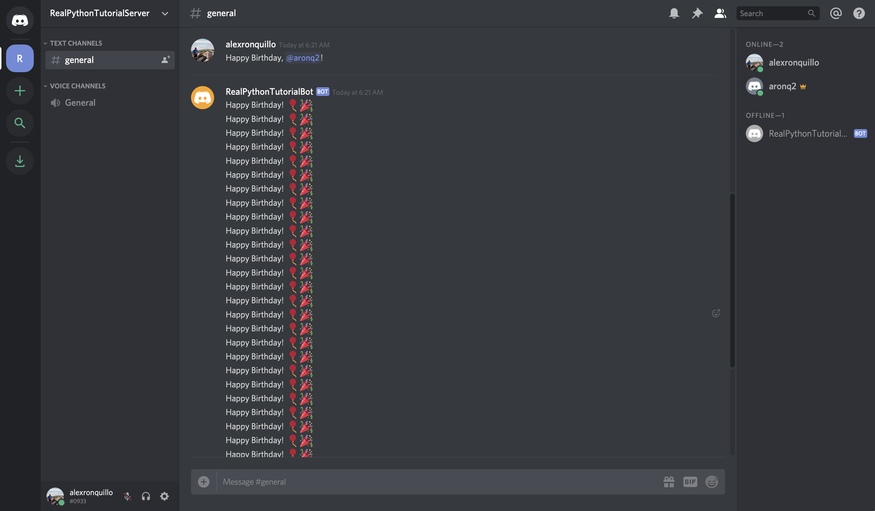 Discord: Happy Birthday Message Repetition