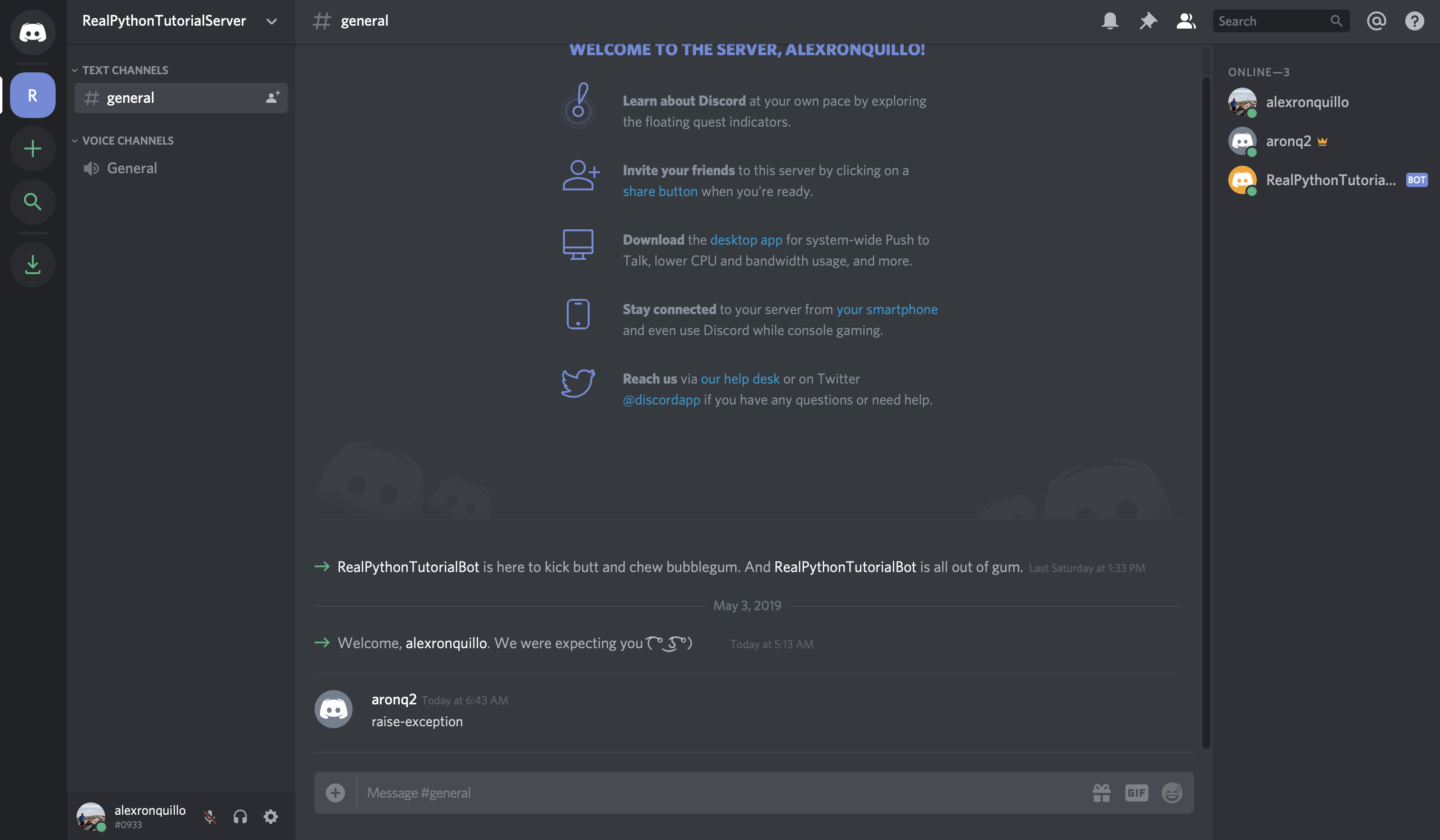 Discord: Raise Exception Message