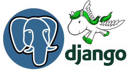 Django and postgres logos