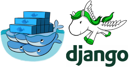 Django and docker logos