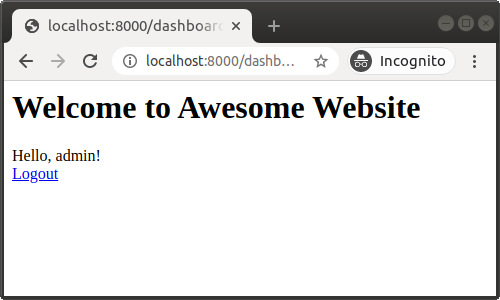 Dashboard with a logout link