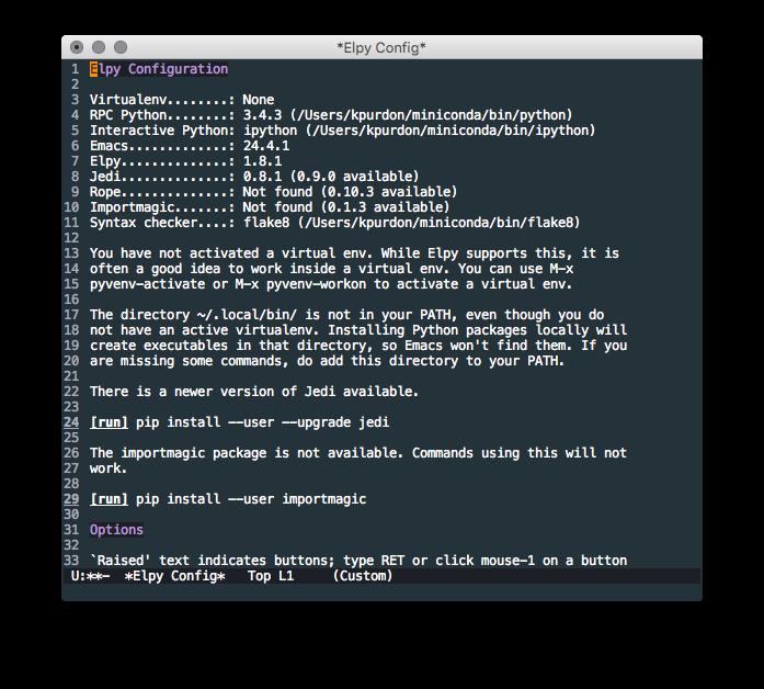 Emacs Elpy configuration