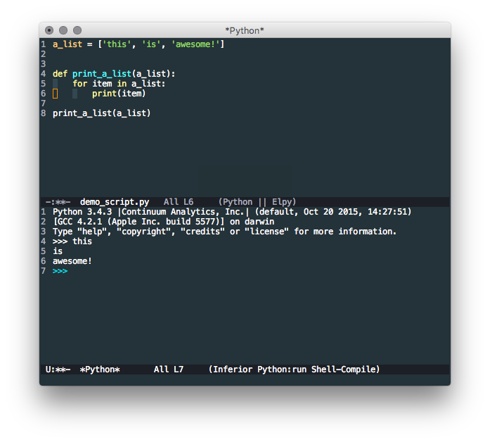 Emacs editor with Elpy installed
