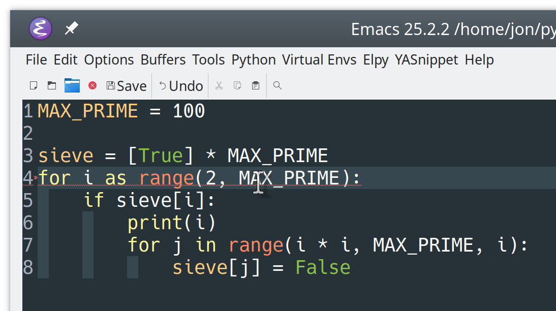 Error highlighting with elpy in Emacs