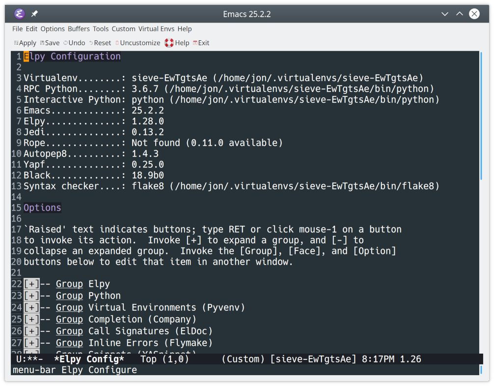 Configuring elpy in Emacs