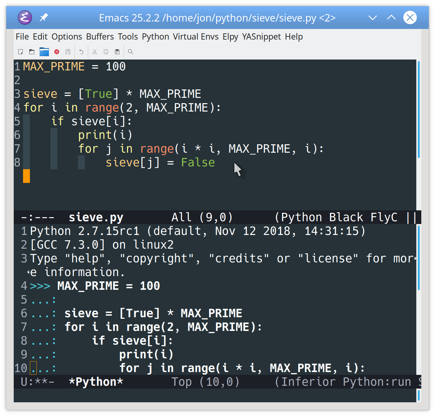 Executing Python code in Emacs