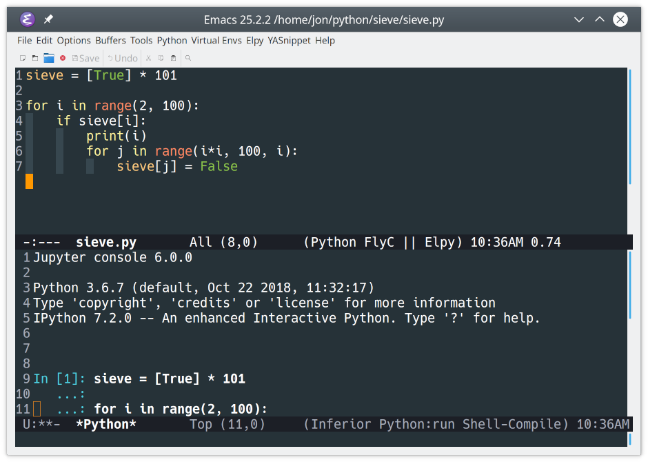 IPython running in Emacs