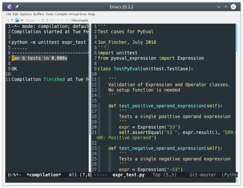 Results of a Python unittest run in Emacs