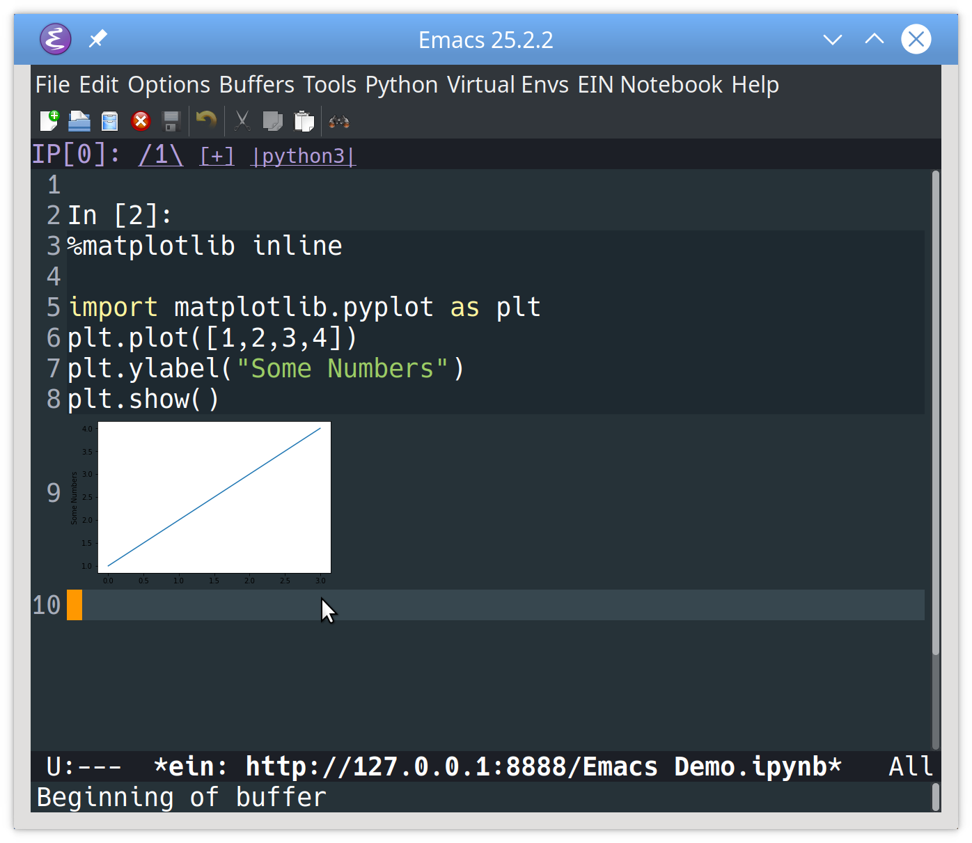 Opening an existing Jupyter notebook in Emacs using ein