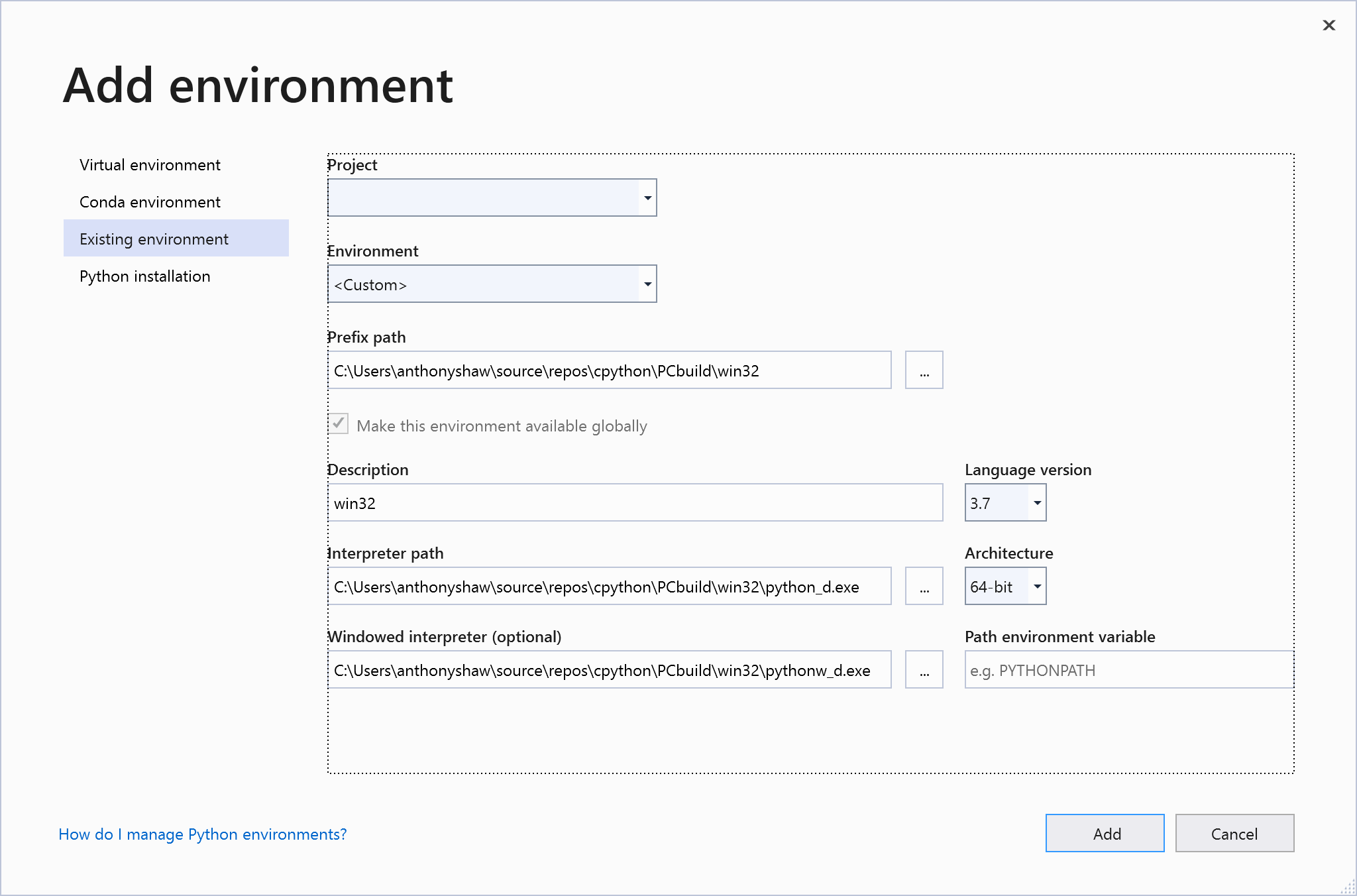 Adding an environment in VS2019