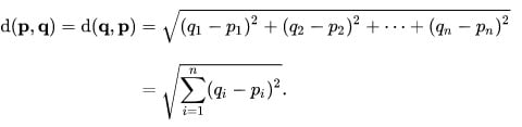 Formula for calculating Euclidean distance between points
