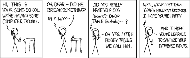 A humorous webcomic by xkcd about the potential effect of SQL injection