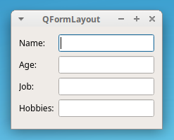PyQt QFormLayout example