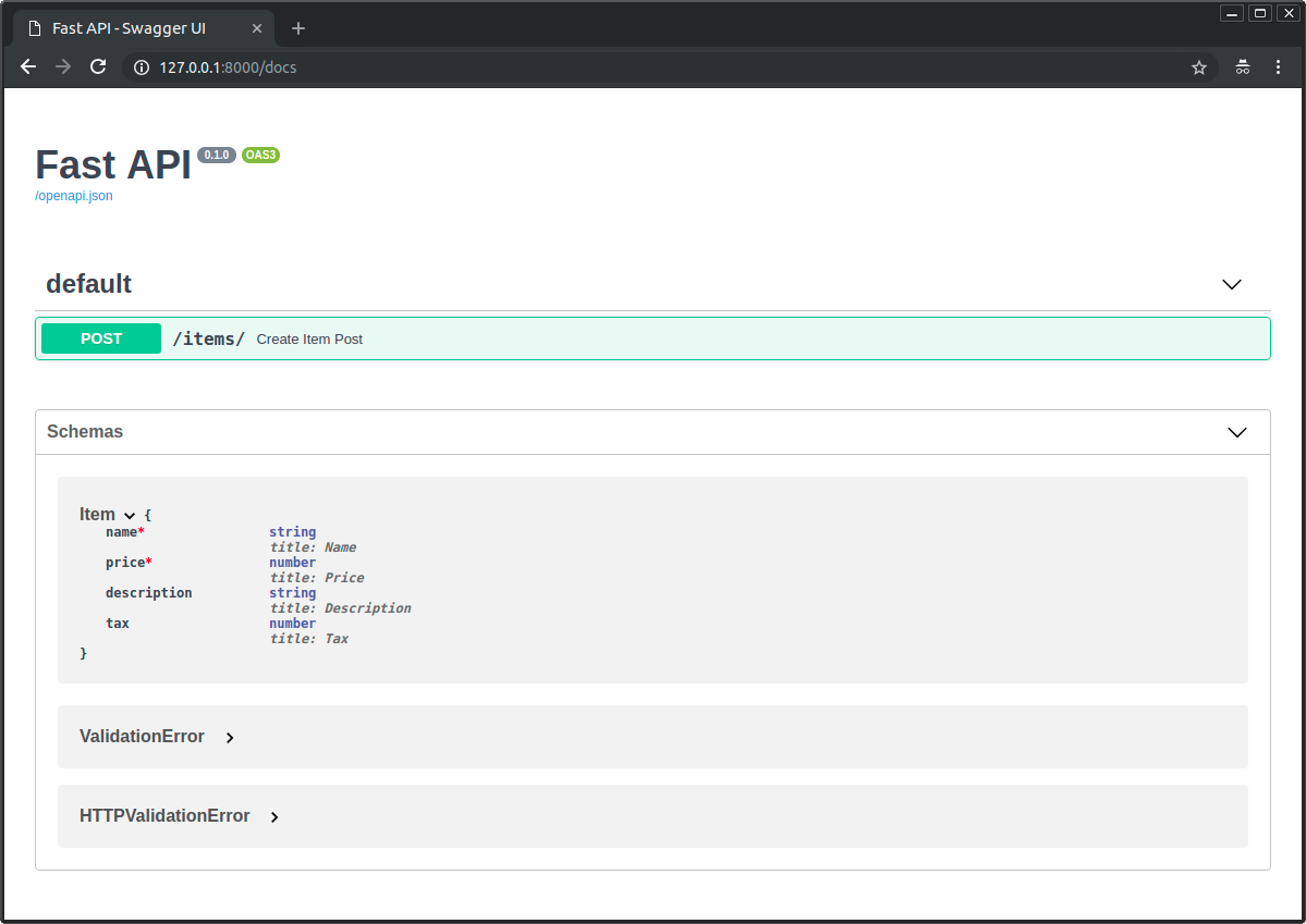 JSON Schema for pydantic models is included in API docs UI
