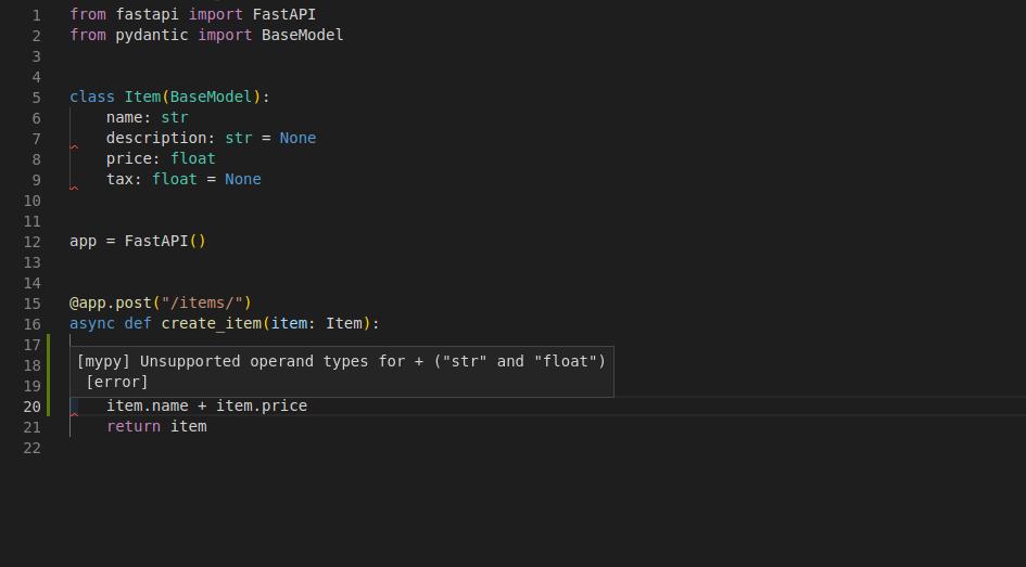 Editors provide error checks for pydantic models