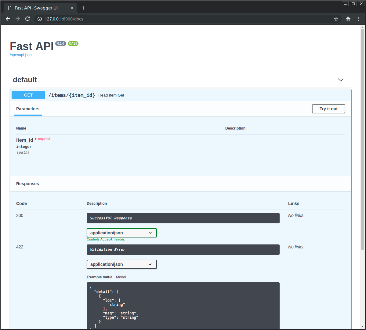 Interactive API docs for path operations