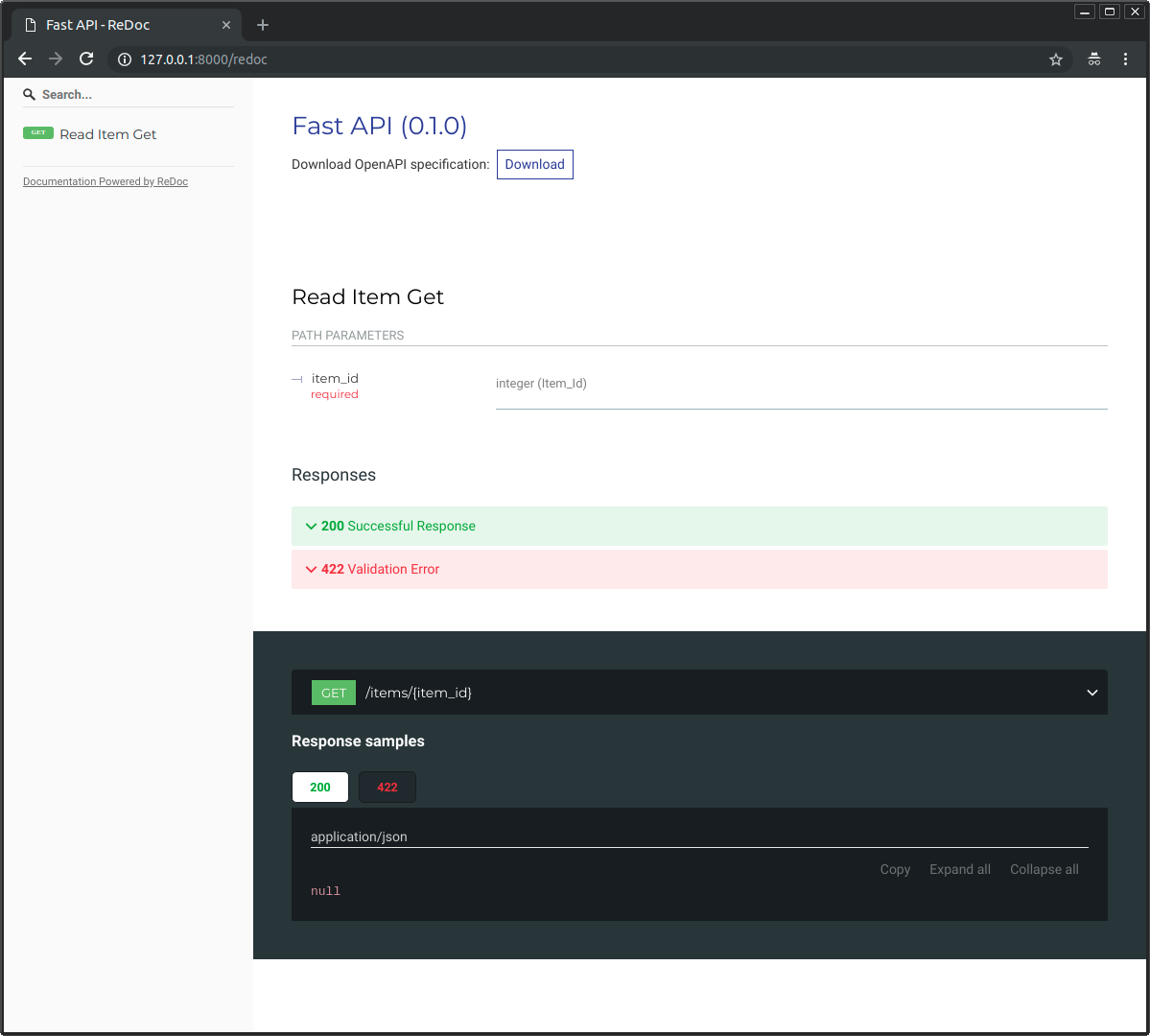 Alternative interactive API docs using ReDoc