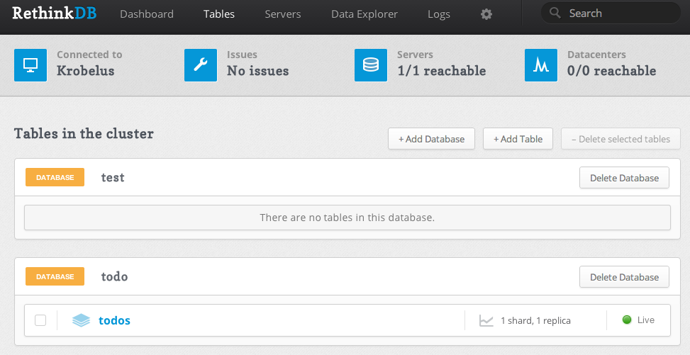 RethinkDB admin panel screenshot