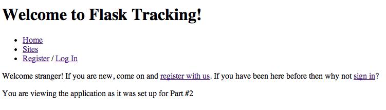 Flask Tracking app screenshot