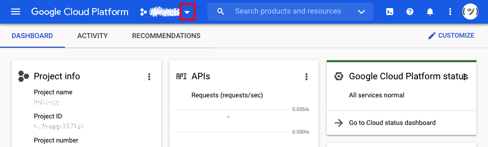 Dropdown for viewing all of your Google projects