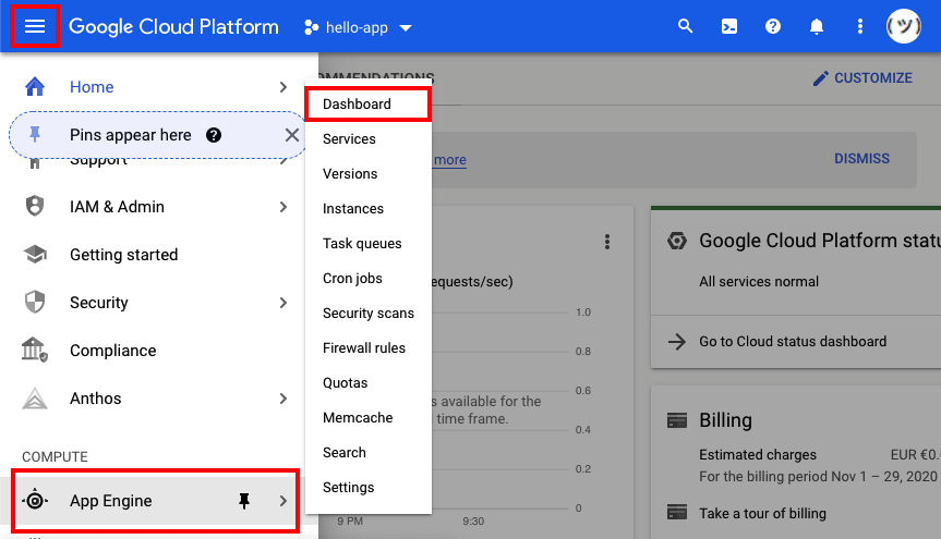 Visual instructions on how to get from the Cloud Platform dashboard to the App Engine dashboard