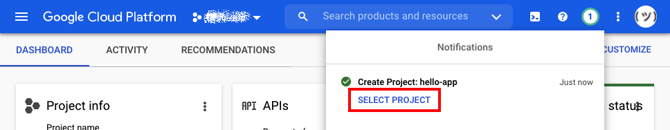 Screenshot showing the option to Select Project
