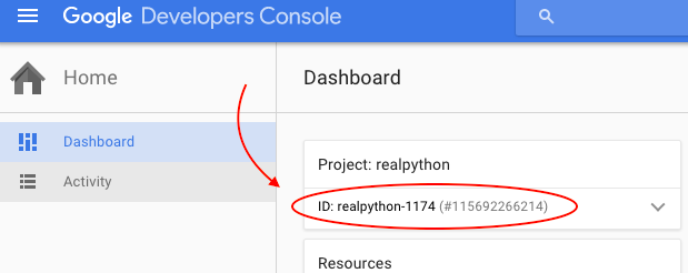 Google Developers Console dashboard