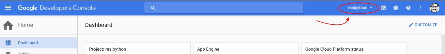 Google Dev Console: select project