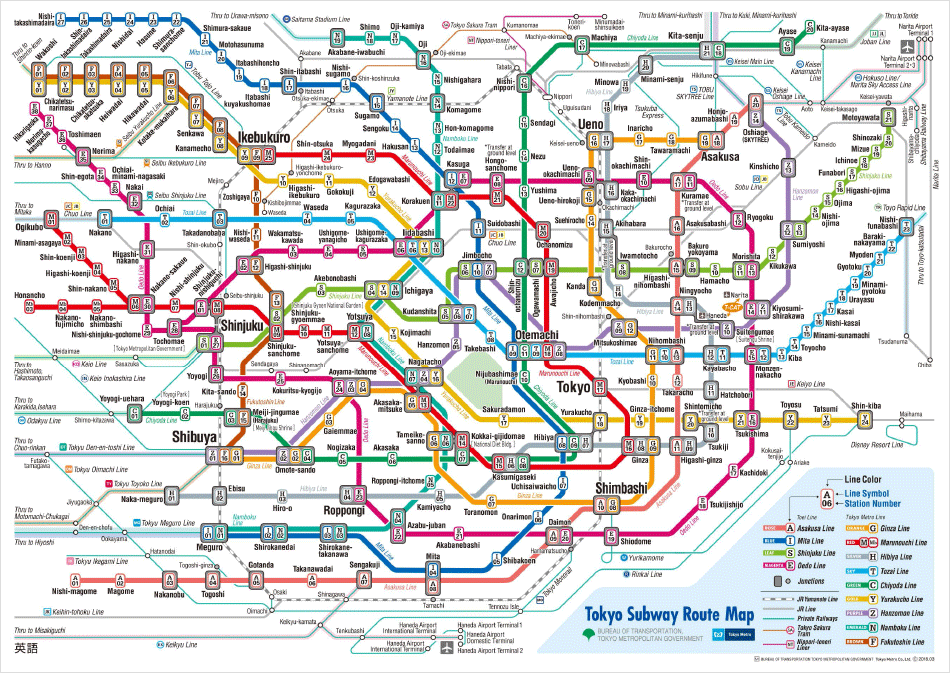 Map of the Tokyo railway network