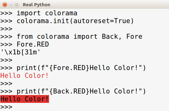 Adding color to the console with colorama
