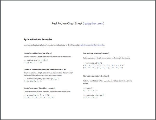 Python Itertools Cheat Sheet (Preview)