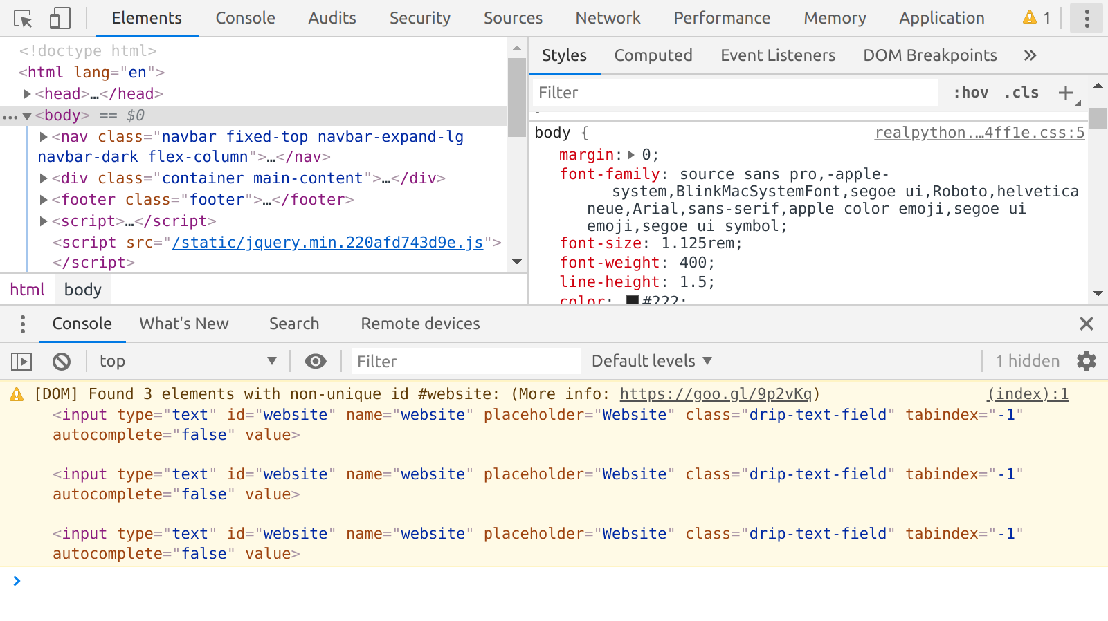 Web Developer Tools in Google Chrome