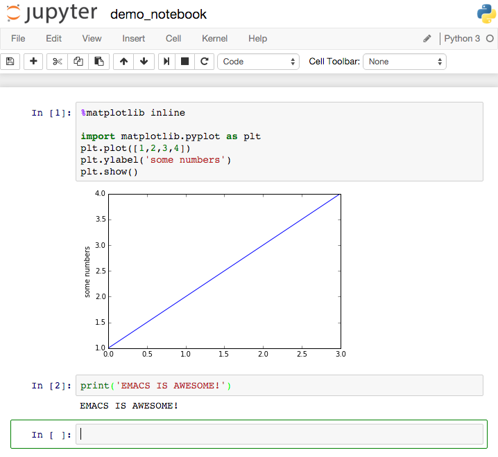 Jupyter notebook (web interface)
